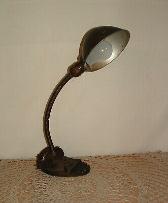 Antique Art Deco Original Eagle Gooseneck Desk Lamp with Shade Vintage Working