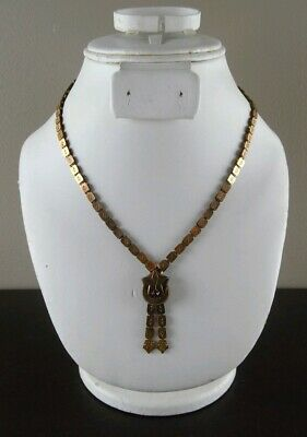 Antique Victorian Book Chain Necklace Gold Filled W/ Crescent Moon Star