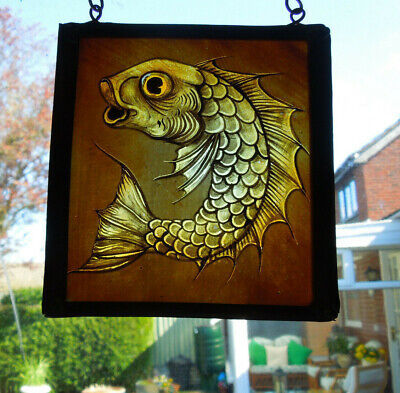 Interesting Stained Glass Fish Carp Tropical Medieval Victorian Decorative