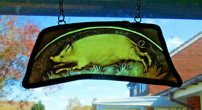 Interesting Stained Glass Pig Piggy Boar Medieval Victorian Decorative