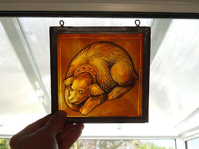 Interesting Stained Glass Dog Labrador Type Medieval Victorian Decorative