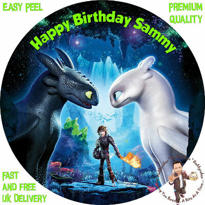 """HOW TO TRAIN YOUR DRAGON 8"""" Round Premium Icing Sheet Customised Caketopper"""