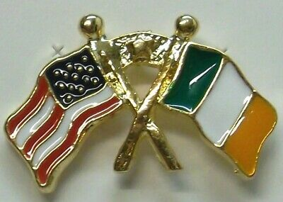 Irish and American USA Flag Lapel Pin in Gold Plate St Patrick's Day NEW