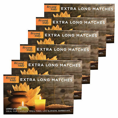 6 Boxes of Bryant & May Extra Long Safety Matches Ideal For Fires BBQs