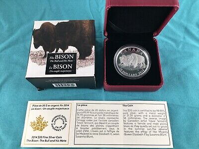 2014 Canada The Bison: The Bull and His Mate 1 oz Silver Proof Coin 7500 Mintage