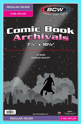 10 BCW SILVER / REGULAR MYLAR 2 MIL COMIC BOOK BAGS Clear Archival Safe Storage