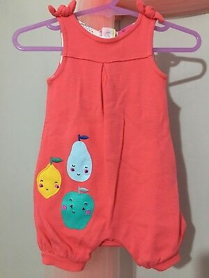 Cute Baby Girls Mothercare Red Colourful Fruit Summer Romper Suit 1m🎀