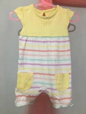 Cute Baby Girls Pastel Yellow Striped Print Summer Romper Play Suit 0-3m🎀