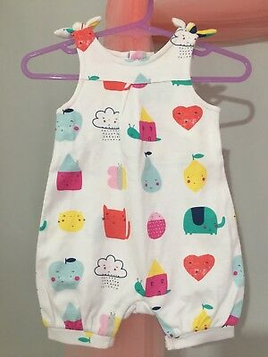 Cute Baby Girls Mothercare Colourful Animals & Fruit Summer Romper Suit 1m🎀