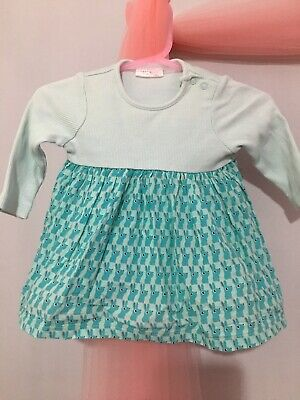 Cute Baby Girls Next Green Ribbed Long Sleeve Bunny Print Dress 0-3m🎀