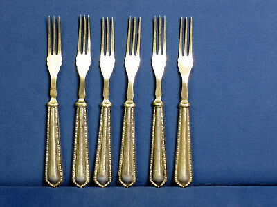 Sterling handle fruit forks, set of 6, Birmingham c. 1900-1920