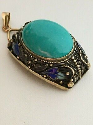 18Kgold & sterling silver Chinese filigree Turquoise with Enamel pendant