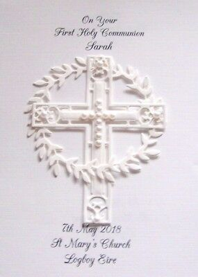 Personalised White Baptism Christening 1st Holy Communion or Confirmation Card
