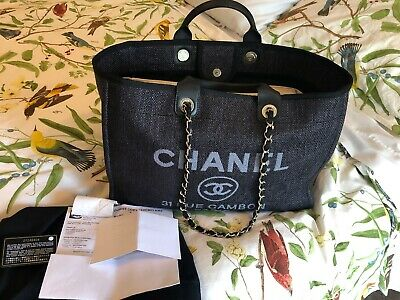 1bc743e67279 NWT chanel deauville tote bag Black Grey Cruise 2019 Large With Receipts