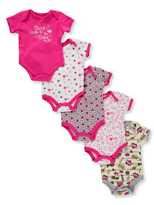 Betsey Johnson Baby Bodysuit Girls 5-Pack Printed One-Piece Top 9M 6M Size 3M