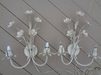 2 Vintage Italian White Tole Toleware Metal Flower Wall Sconce Lights Lamps