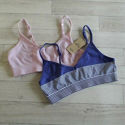 M&S Kids Age 12-14 Bra Crop Tops X2 Seamfree pink purple stripe BNWT