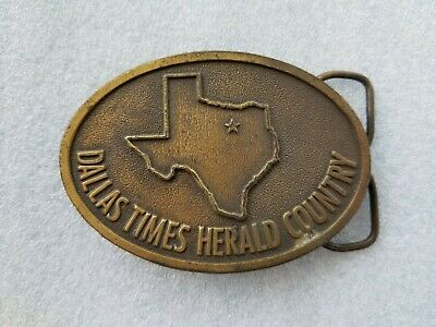 Vintage 1978 Dallas Times Herald Country Belt Buckle Texas State Outline Brass