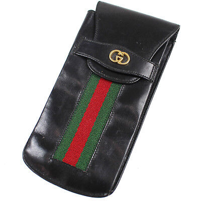 GUCCI GG Logos Web Stripe Glasses Case Black Leather Italy Authentic #P941 M