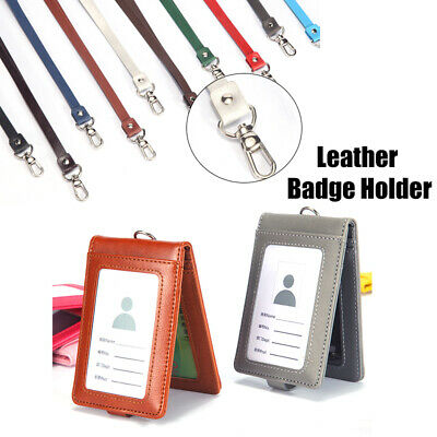 Badge ID Card Holder Horizontal Employee Name Durable Plastic Hard of Pack L7Z1
