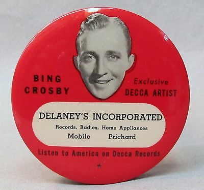 red 1940s BING CROSBY DECCA ALABAMA advertising celluloid record cleaner brush *