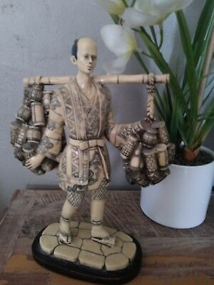 "Oriental Asian man carrying water jugs resin figurine, 10"" tall"