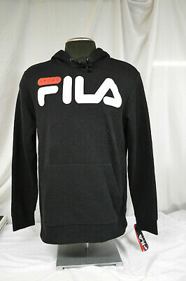 FILA MEN'S LOGO Fleece Hoodie (Gray,Red) ** FREE SHIPPING
