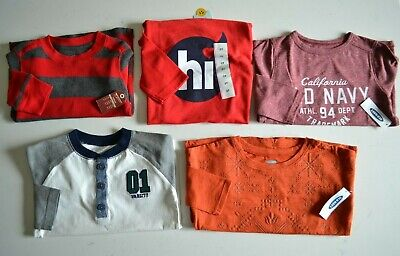 NEW Lot Of 5 Toddler Boys (2T-3T) Long Sleeve Cotton Shirts-Old Navy, Carter's