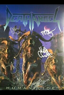 Death Angel SIGNED Poster + NEW CD PREORDER heavy metal PROMO Humanicide Autogra