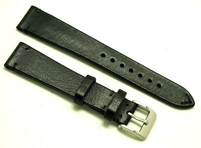 19mm BLACK Genuine Leather Vintage Classic Watch Strap Handmade Silver Buckle