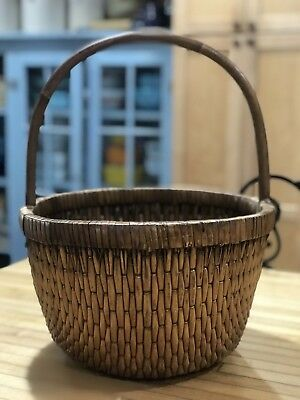 Vintage Early Chinese Elm Handle Woven Willow Rice Basket Nice