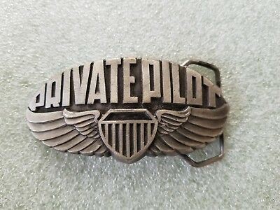 """Vintage 1980 """"Private Pilot"""" Belt Buckle with Wings & Stripes XR92 Indiana Metal"""
