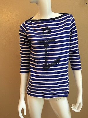 Hatley Navy Blue/White Striped 100% Cotton Boatneck Anchor Print Breton Top Sz M