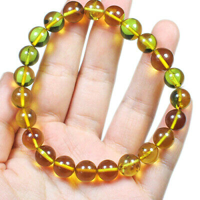 11.29g Natural Baltic Green Amber Round Beads Bracelet Collectibl​e UCYL123