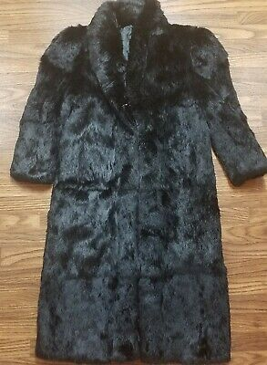 Vtg Rabbit Fur Long Coat black sz Small Hong Kong Costume Prop