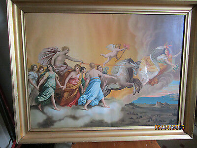 "Large Antique Lithograph "" The Aurora "" From Painting By Guido Reni -1575 - 1642"
