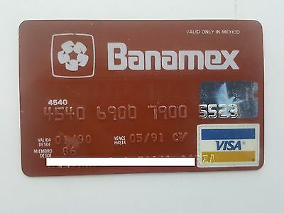 Mexico - Visa - Expired - Credit Card - Banamex Bank - 1990 - Old & Rare