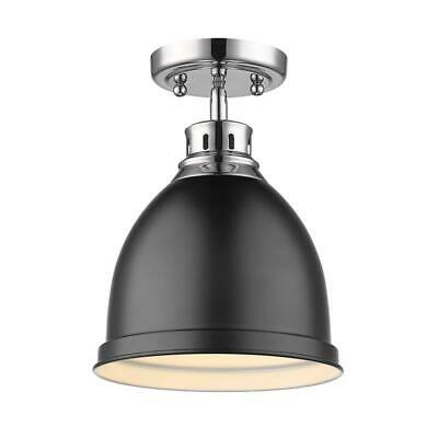 Beaumont Lane Flush Mount in Chrome with a Matte Black Shade