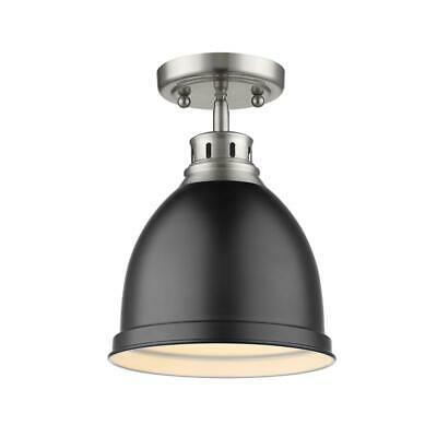 Beaumont Lane Flush Mount in Pewter with a Matte Black Shade