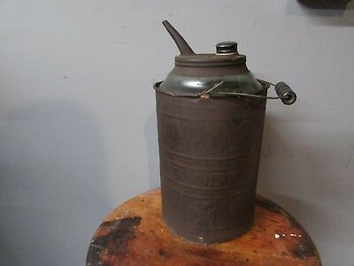 Antique Dandy Oil Can Glass / Metal Kerosene or Oil Petroiliana