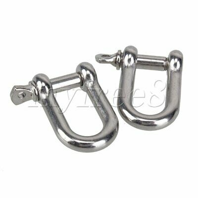 2pcs Stainless Steel 5mm Screw Pin Chain D Dee Shackle Hardware Rigging