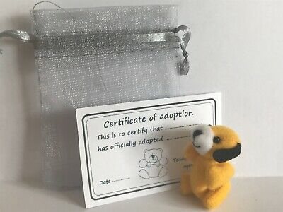 Tiny Teddy Dog & Gift Bag With Adoption Certificate Party Bag Travel Teddy