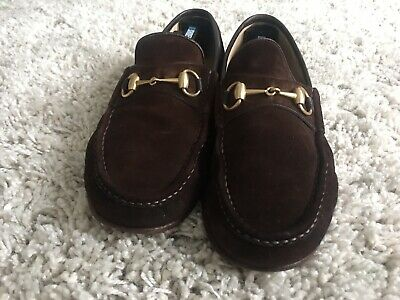 e4d450e57 Authentic Gucci Mens Warm Brown Suede Horsebit Loafers Shoes Size 9.5 US