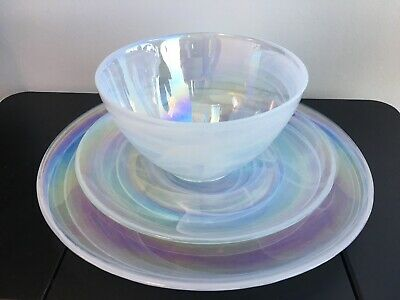 12pc ARTISTIC ACCENTS PEARL WHITE  IRIDESCENT GLASS DINNER LUNCH PLATES BOWLS