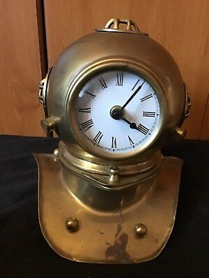 A Novelty Brass Divers Helmet Clock