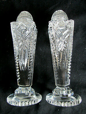 Vintage Crystal Footed Clear Glass Salt & Pepper Shakers With Glass Covers