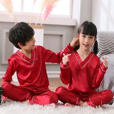 Kids Boys Girls Silk Satin Pajamas Sets Sleepwear Nightwear Loungewear Comfort