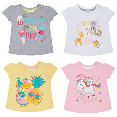 Metzuyan Baby Girls Popper Neck T-Shirt Short Sleeve Cotton Glitter Printed