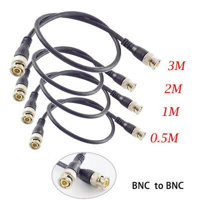 0.5 2M CCTV BNC male to BNC male Cable plug Adapter Connector video balun Camera