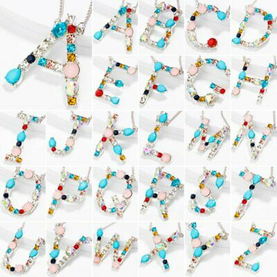 26 Letters Colorful Crystal A-Z Alphabet Womens Necklace Pendant Chain Jewellery